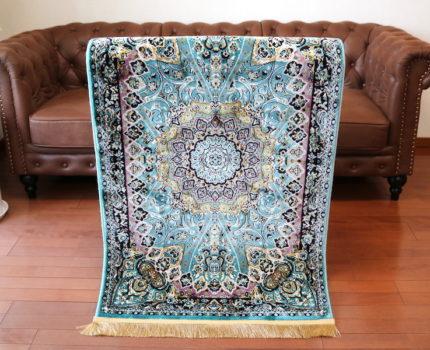ペルシャ柄絨毯 78×137 新品未使用 ティファニーブルー 玄関マット ラグ カーペット ランナー キッチンマット 訳あり アウトレット