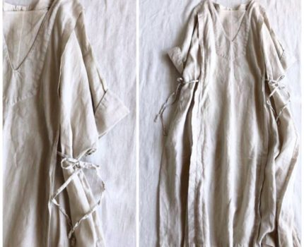 nestrobe ドルマン袖とリボンのリネンワンピース