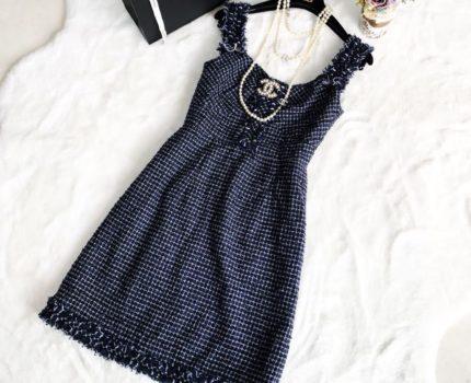 美品 シャネル 最高級 サマーツイード ワンピース ドレス 36