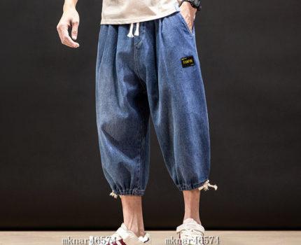 ジーンズ 夏新品 メンズ 七分丈 デニムパンツ ショートパンツ サルエルパンツ ワイドパンツ ワークパンツ 大きいサイズ有り M~5XL選択