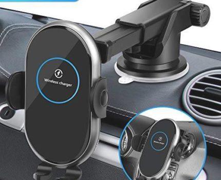 ☆新品特価☆ LCDOLED【とても静か】車載Qi ワイヤレス充電器 自動開閉 車載 ホルダー 車 スマホホルダー iphone ワイヤレス充電器