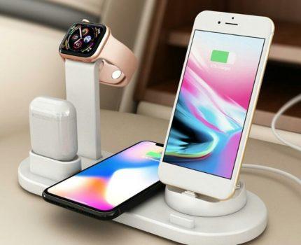 充電スタンド ワイヤレス充電器 ワイヤレスチャージ 充電ドック 充電ステーション Qi Dock式 ドック式 7in1 iPhoneMicroType-C 急速