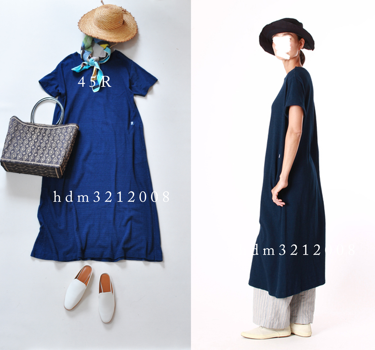 45R インディゴアートピケ天竺DRESS ワンピース 45RPM