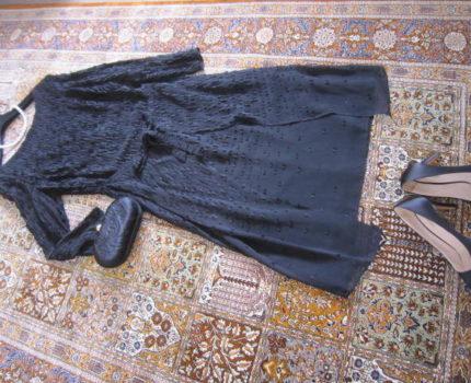 クローゼット整理!ESCADA 100%viscose / 裏地100%silk 飾りスカート付きワンピース 36(40細身)試着のみ未使用
