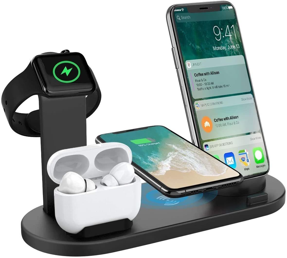 ワイヤレス充電スタンド Airpods Pro対応 iPhone/Apple Watch/Airpodsワイヤレス充電器 4-in-1ワイヤレスチャージャー