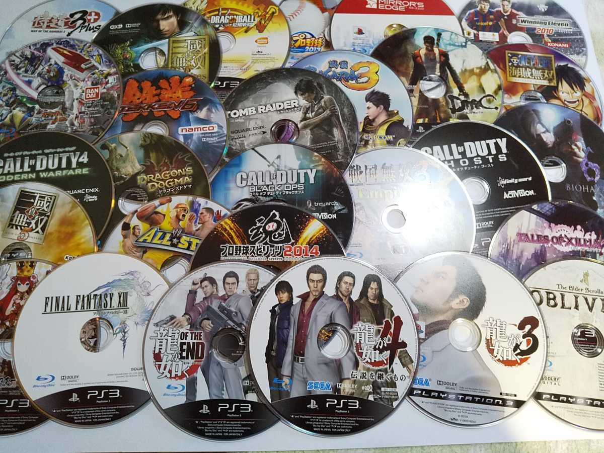 PS3ソフト ディスクのみ まとめ ジャンク 28本セット 送料無料 トゥームレイダー 龍が如く 鉄拳 ほか