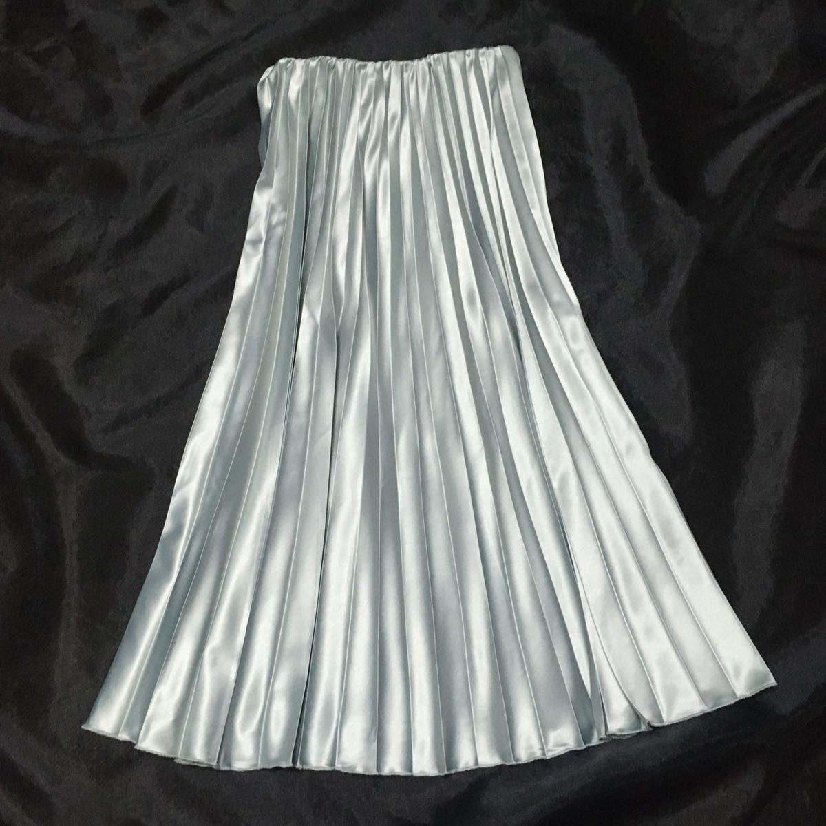 ☆ サテンプリーツスカート ミントグリーン ロングスカート 光沢つるつるサテン ☆