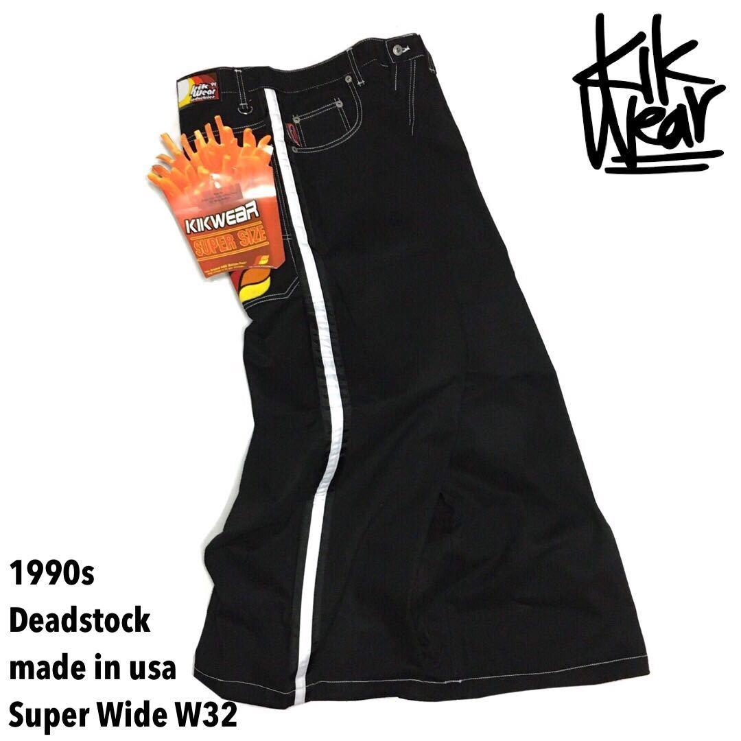 201204AAA2◇未使用品 90s DEADSTOCK デッドストック kik wear 91 キックウエア 32 スーパーワイド ライン パンツ デニムパンツ スケート