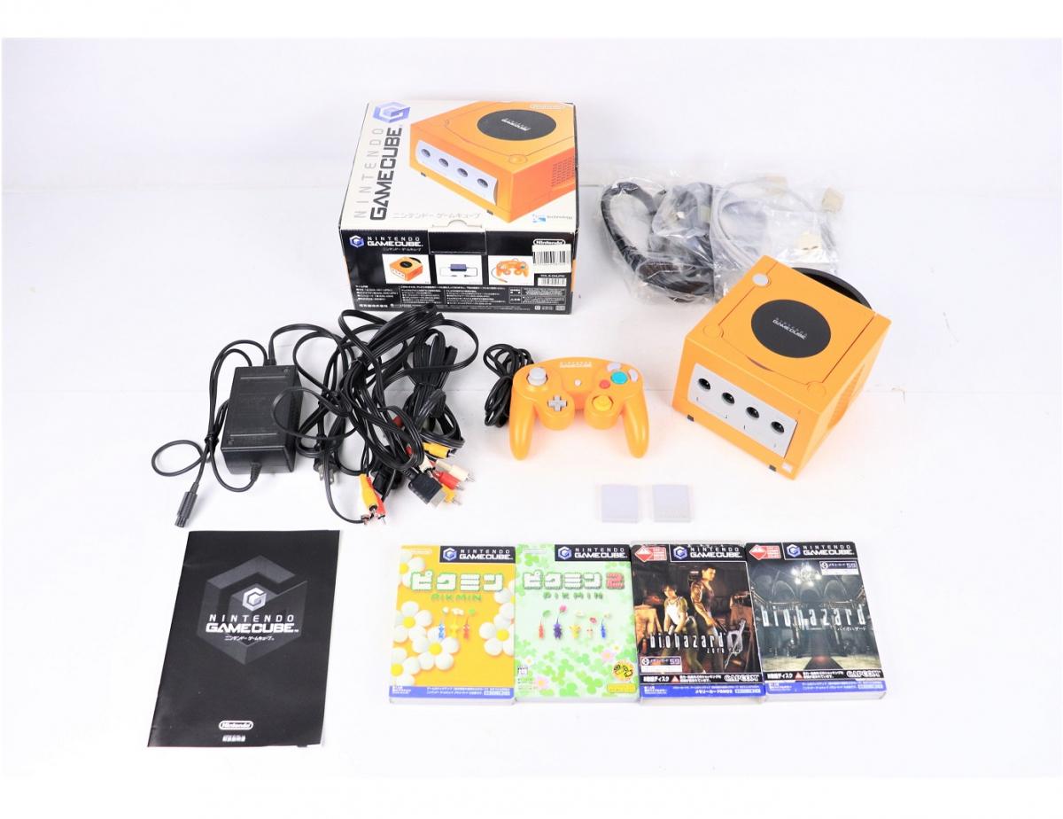 【動作品】Nintendo GAME CUBE DOL-001 (JPN) 任天堂 ゲームキューブ 箱 ソフト コード 説明書付き オレンジ FT000FEK36