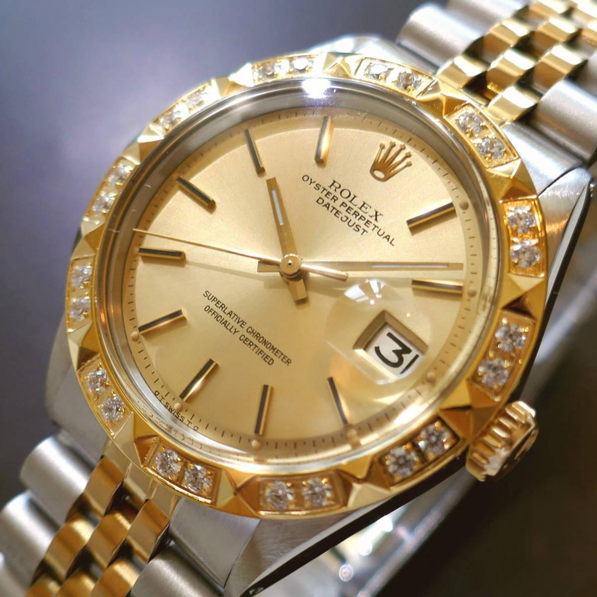 ★保証有◆デッドストック級◆ROLEX DATEJUST ダイヤ◆ゴールドシグマ文字盤!!◆Cal1570★OH済!