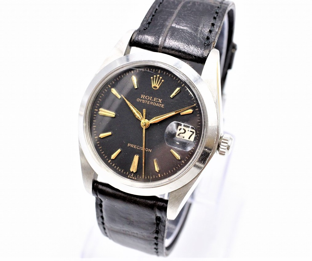 【ト打】 ROLEX ロレックス オイスターデイト プレシジョン デイト 6694 手巻き アンティーク 黒文字盤 メンズ腕時計 AZ727BOO02