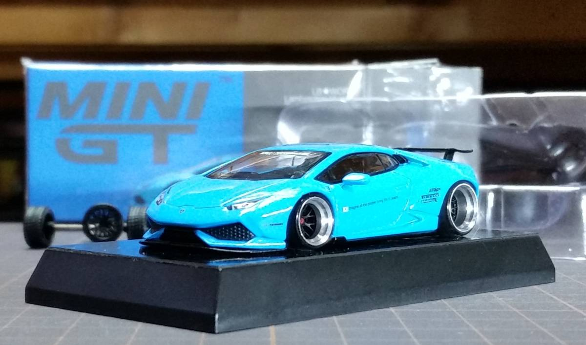 1/64 改 TSM MINI GT Liberty Walk LB★WORKS Lamborghini Huracan ランボルギーニ ウラカン Ver.1 ライトブルー LHD 深リム カスタム品