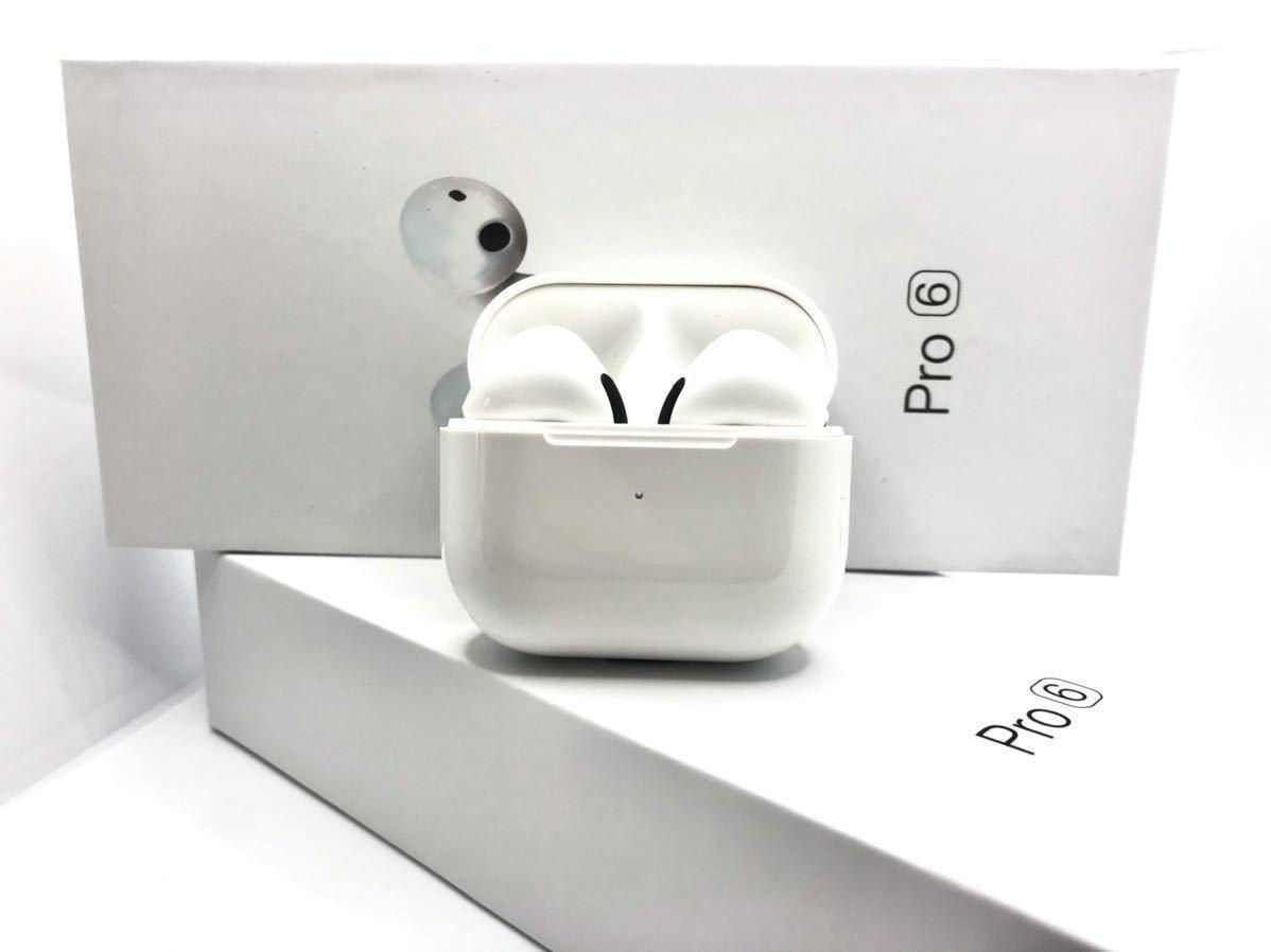 【最新型 】Pro6 AirPods型 イヤホン TWS バッテリー内蔵 充電ケース付, ワイヤレスイヤホン Android, Apple iPhone 8 X 11 12 Bluetooth.