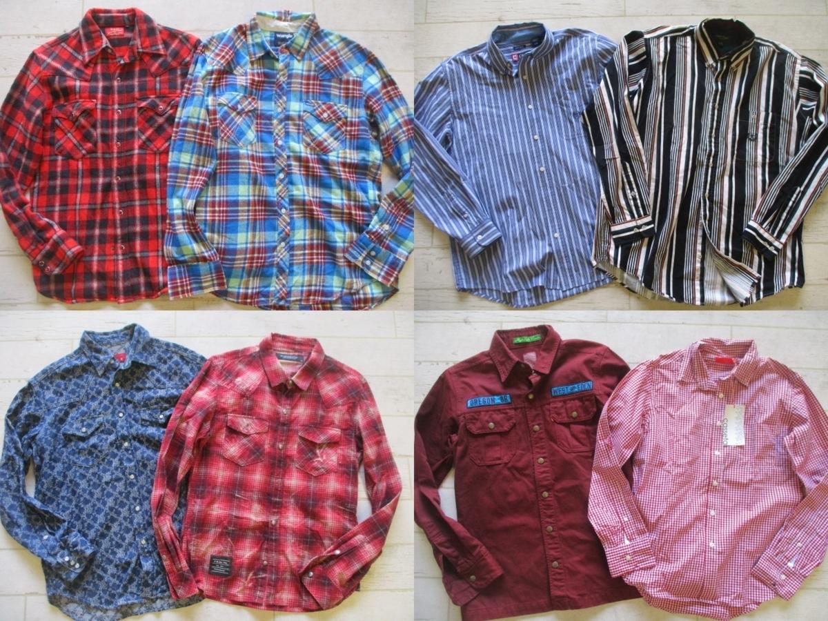 ●メンズ USED 長袖シャツ 福袋 まとめて まとめ売り 45点 セット 大量 洋服 古着 仕入れ ●203