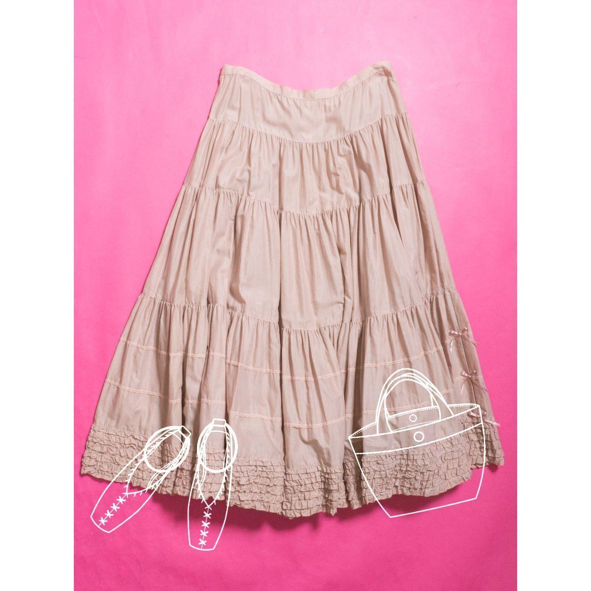 PINKHOUSE ピンクハウス ロングスカート ピンク パステル ギャザー フリル レース リボン ひざ下 フレア 日本製 綿100% コットン かわいい
