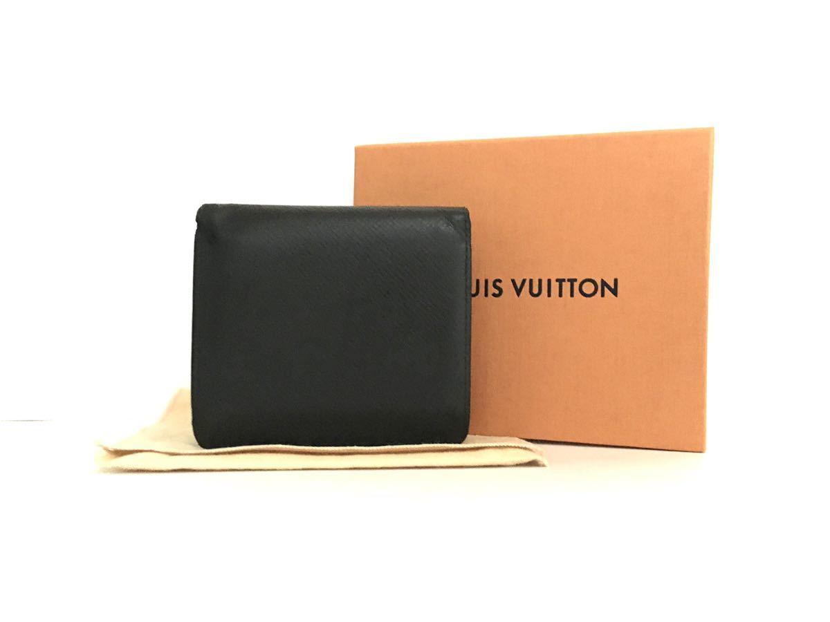 ルイヴィトン LOUIS VUITTON タイガ 二つ折り財布 ポルト ビエ 3 カルトクレディ メンズ 黒