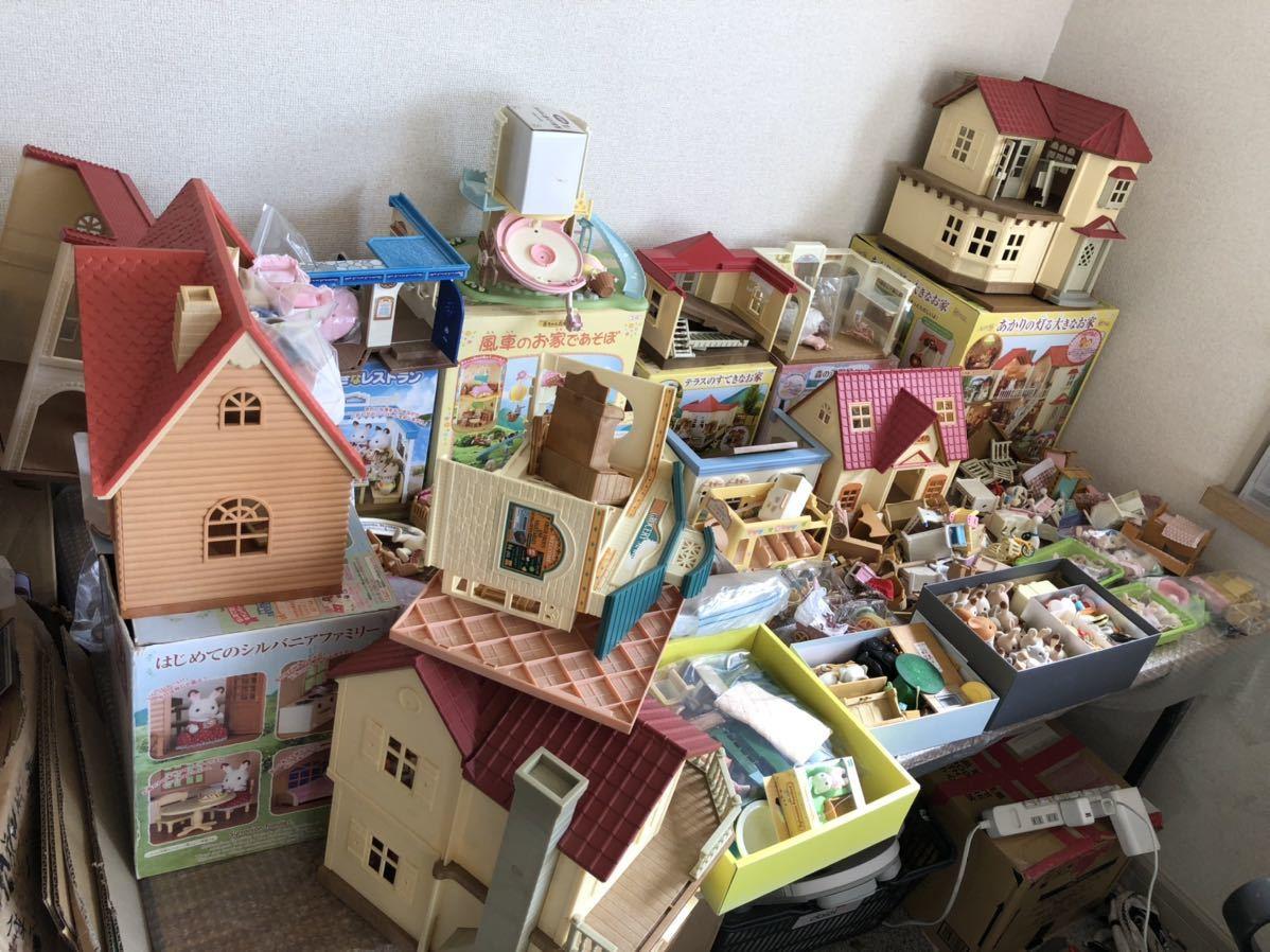シルバニアファミリー テラスのステキなお家 森の洋服屋さん 風車のお家であそぼ 人形、家具、服、小物、ハウス 大量 まとめて