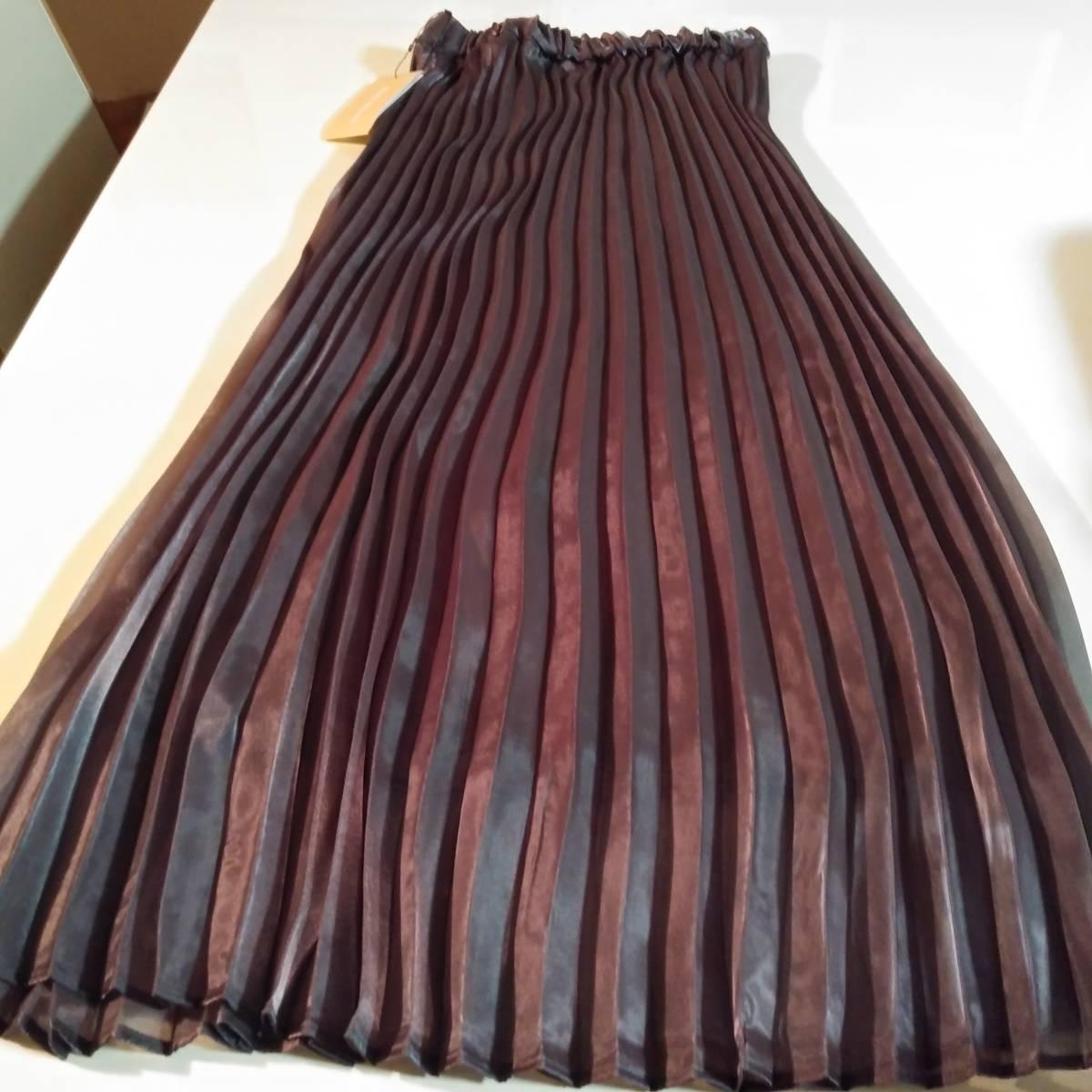 新品 百貨店催事2021*春NEWMon 艶シフォン二重仕立てロングプリーツスカート