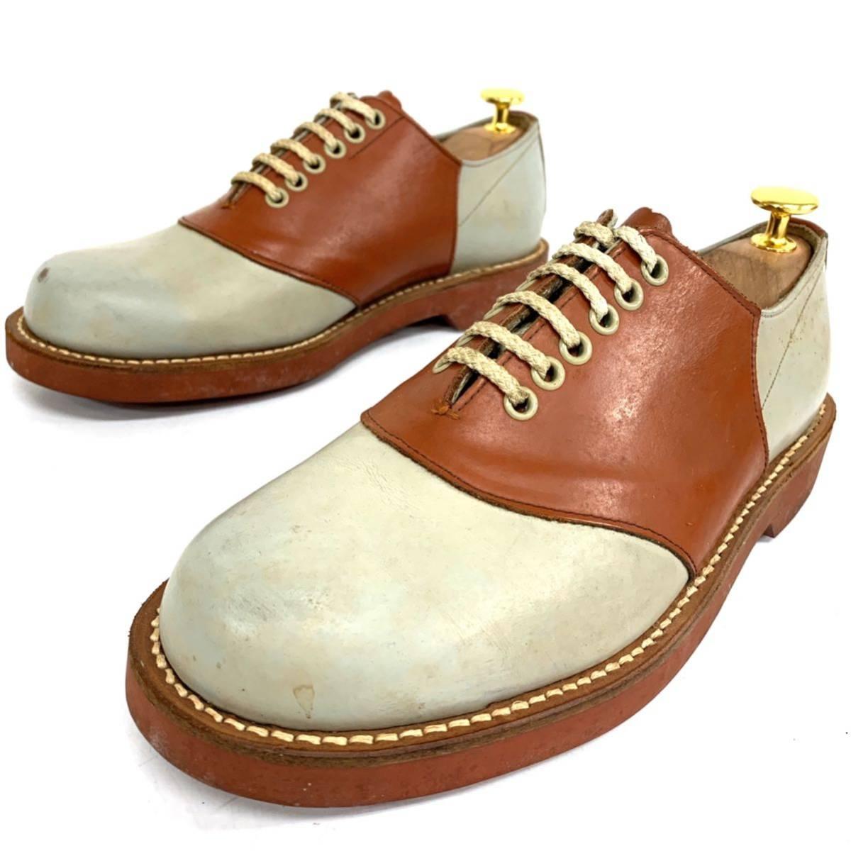 C ☆ 日本製 '洗練されたデザイン' REGAL リーガル 本革 サドルシューズ 革靴 レースアップ プレーントゥ SIZE24cm ビジネス レザー 紳士靴