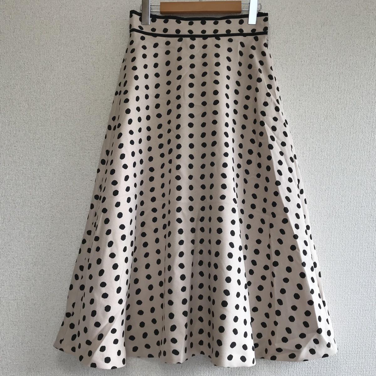 STRAWBERRY-FIELDS ストロベリーフィールズ ドットプリント ロング スカート ベージュ×黒 レディース 春夏 美品