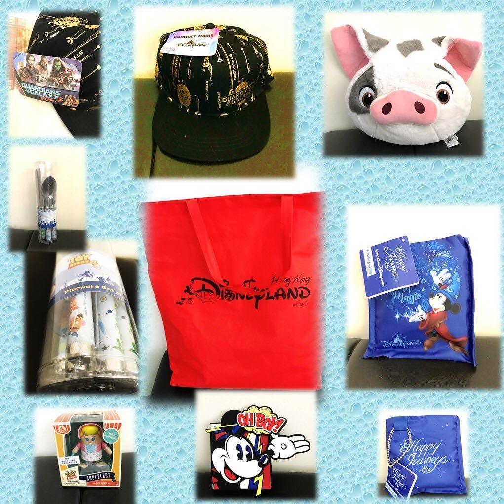 ディズニー キャラクターグッズまとめ売り 香港ディズニーランド15周年 福袋 子豚のプア キャラクター帽子 エコバッグ など5品