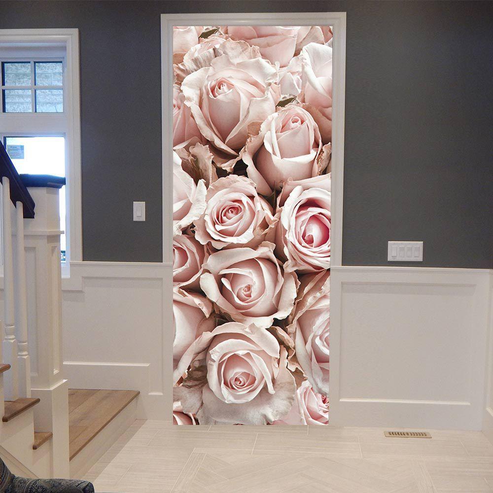 ウォールステッカー シール 貼ってはがせる 室内用ドア装飾シート 防水シール 部屋 ドアシート ドア壁紙 DIY おしゃれ 飾り ピンクのバラ