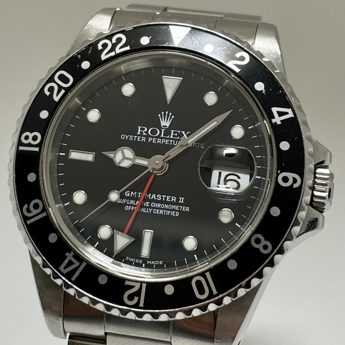 ◎1円~ ロレックス Rolex GMTマスター2 A番 16710 メンズ 自動巻き デイト 黒文字盤 腕時計 CD23661859