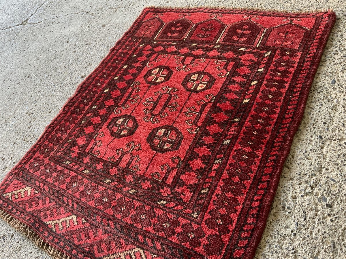 100×80cm アフガニスタン・ドラタバード産 絨毯 ラグ アンティーク家具 マジック カーペット 01ZZMRS210414015D
