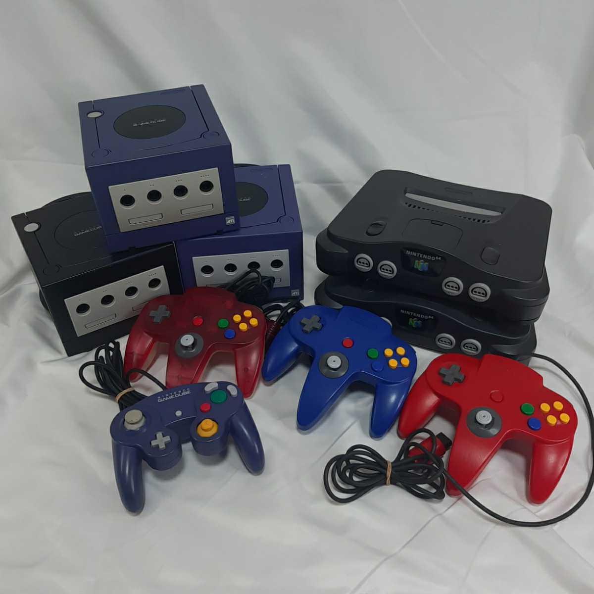 ニンテンドー64 本体2台、コントローラー3個 ゲームキューブ 本体3台、コントローラー1個 ジャンク