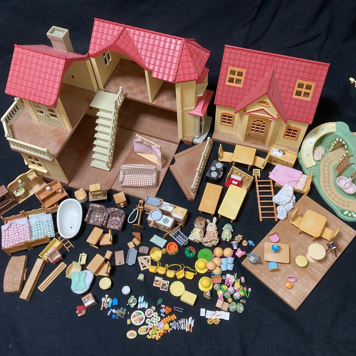 シルバニアファミリー あかりの灯る大きなお家 (ジャンク品)気球の丘で遊ぼう 幼稚園 家具 小物 欠品あり まとめて