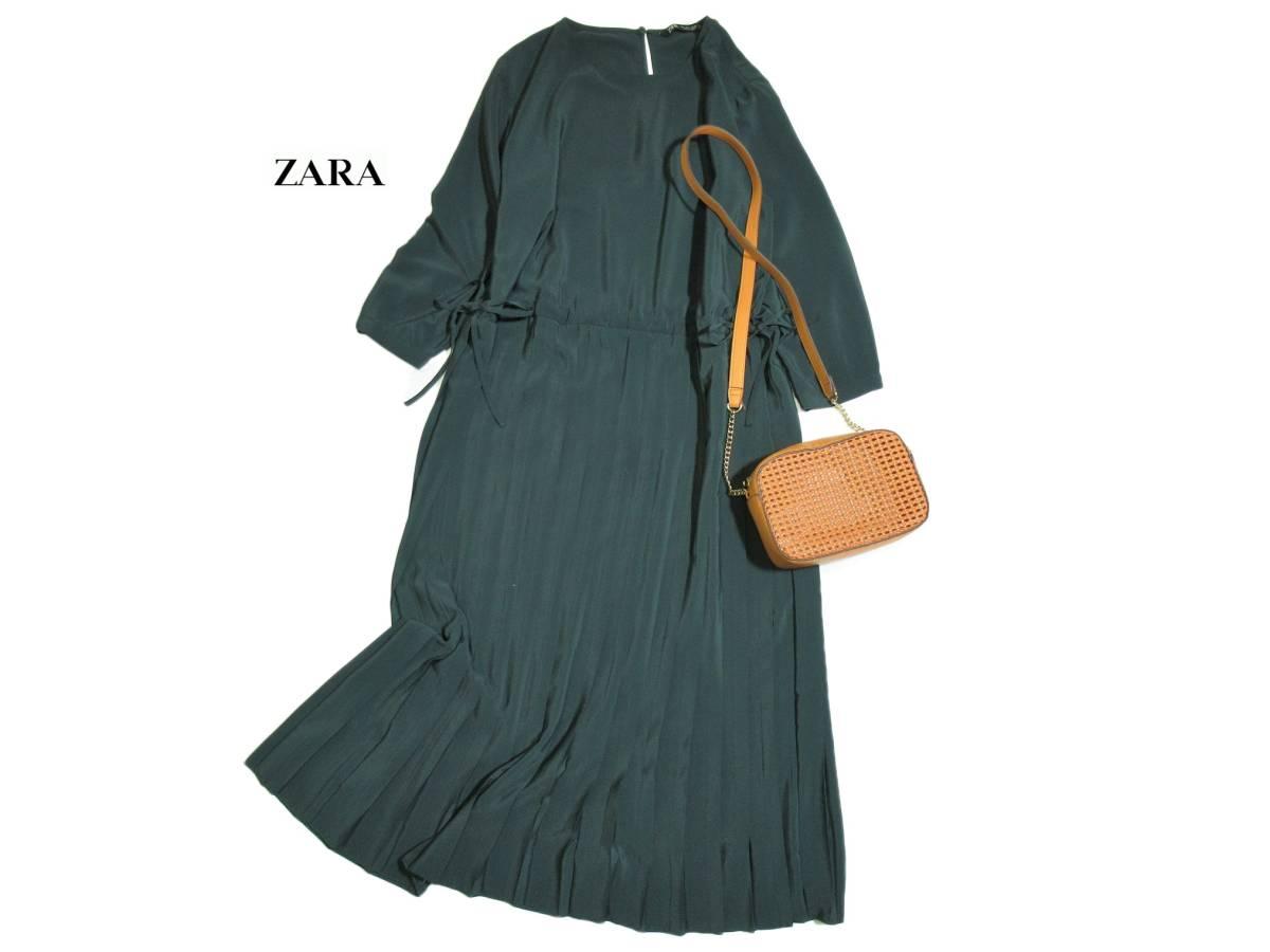 ザラ ZARA プリーツスカート 切り替え ロング とろみ ワンピース L 大きいサイズ
