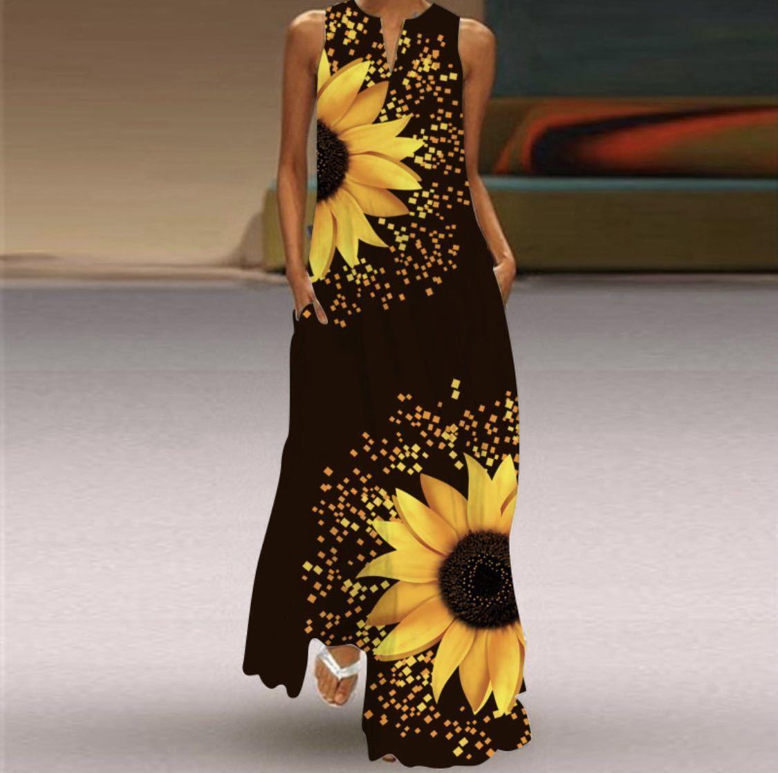 ロング ワンピース 黒 ひまわり 向日葵 ドレス