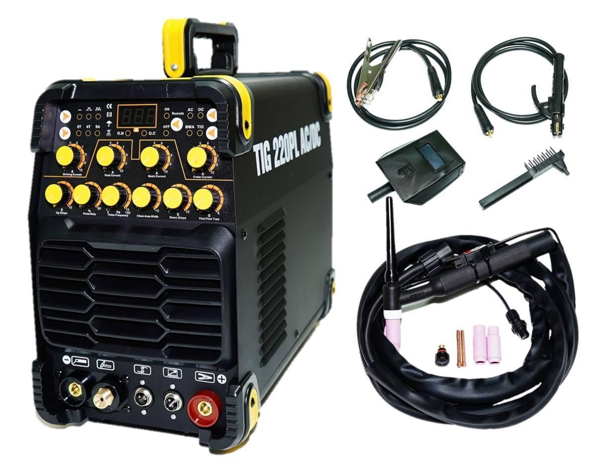 交流/直流 インバーター TIG溶接機 TIG220PL AC/DC!新型 高性能/高機能 パルス溶接 単相100V/200V共用 鉄・ステン・アルミも可!TIG220P