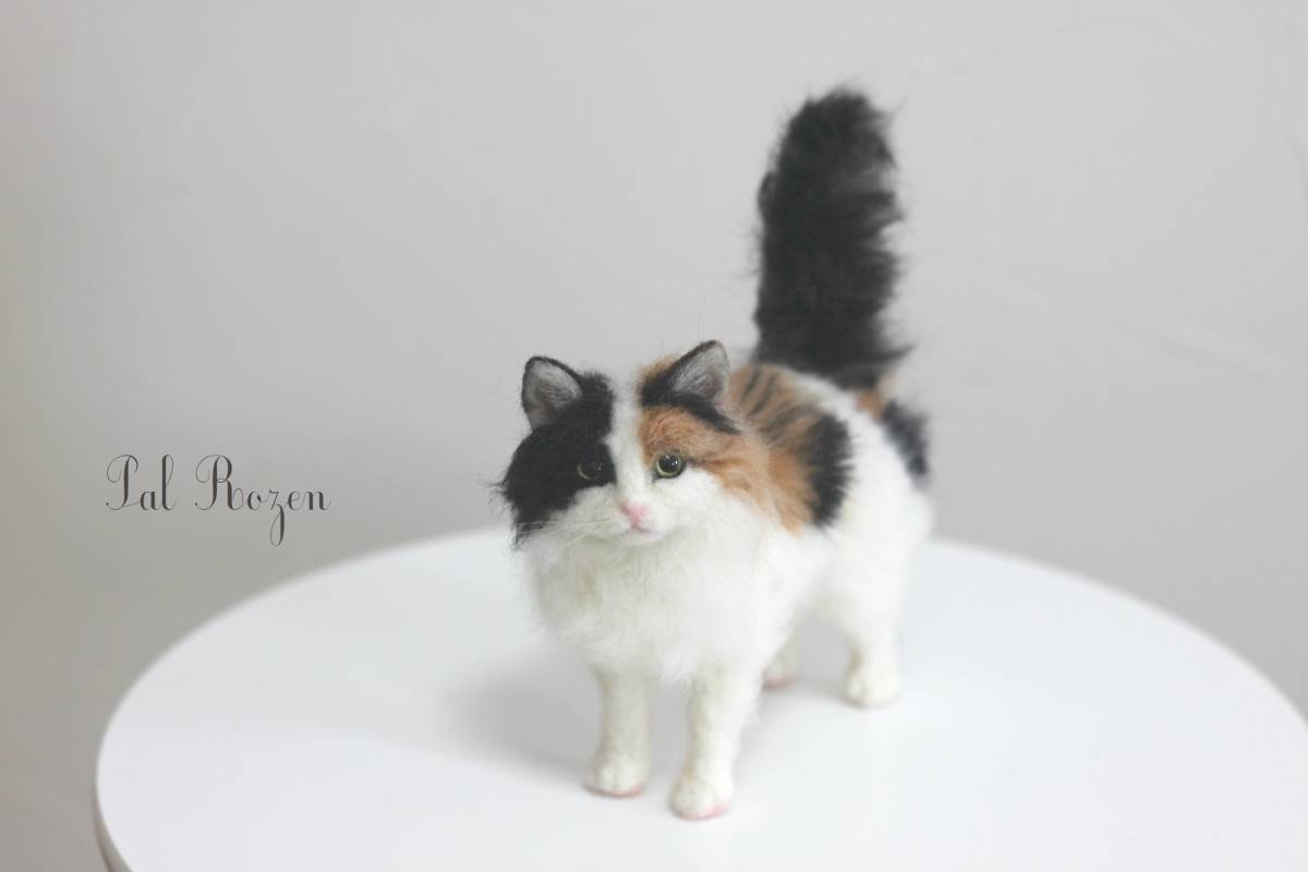 Pal Rozen キャリコ 長毛種猫 三毛猫 ミニサイズ 羊毛フェルト ハンドメイド