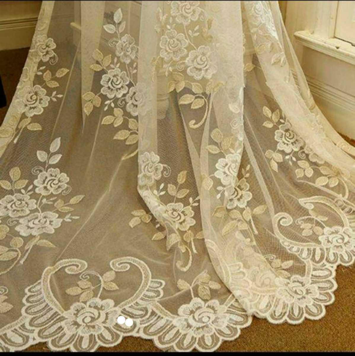 ゴールドとパールの花刺繍レースカーテン2枚組 よこ約100㎝xたて約200㎝ 格安セール! フランス エレガント