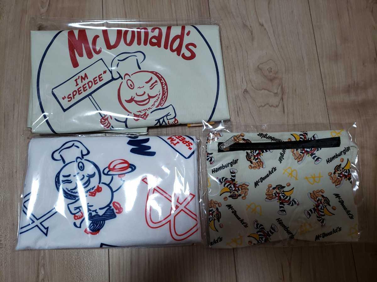 マクドナルド ビッグスマイルバッグ グッズのみ3点セット 福袋 マック50周年 限定グッズ バッグ・タオル・ポーチ ハンバーグラー