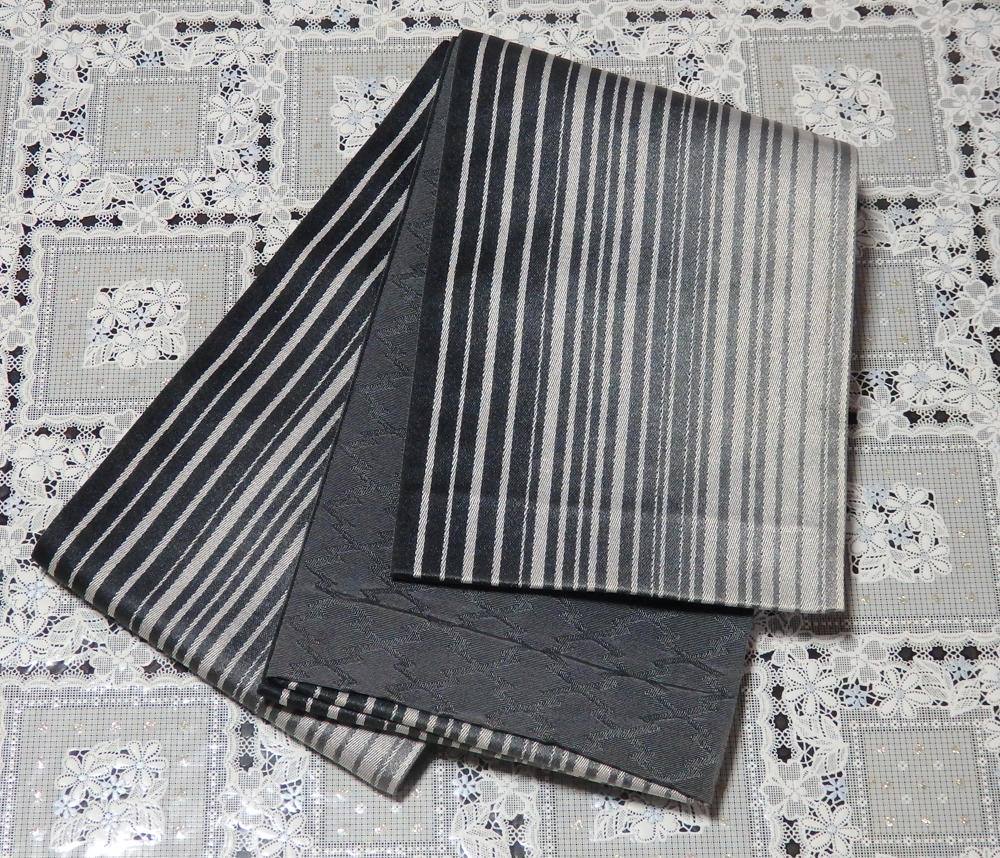リバーシブル 半巾帯 浴衣帯 ゆかた帯 モノトーン グレー ストライプ