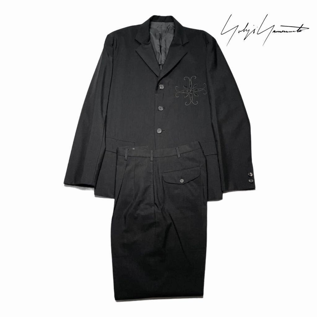 【ほぼ未使用】ヨウジヤマモトプールオム Yohoji Yamamoto pour homme 80sカットワークセットアップテーラードジャケットスラックス丸ロゴ