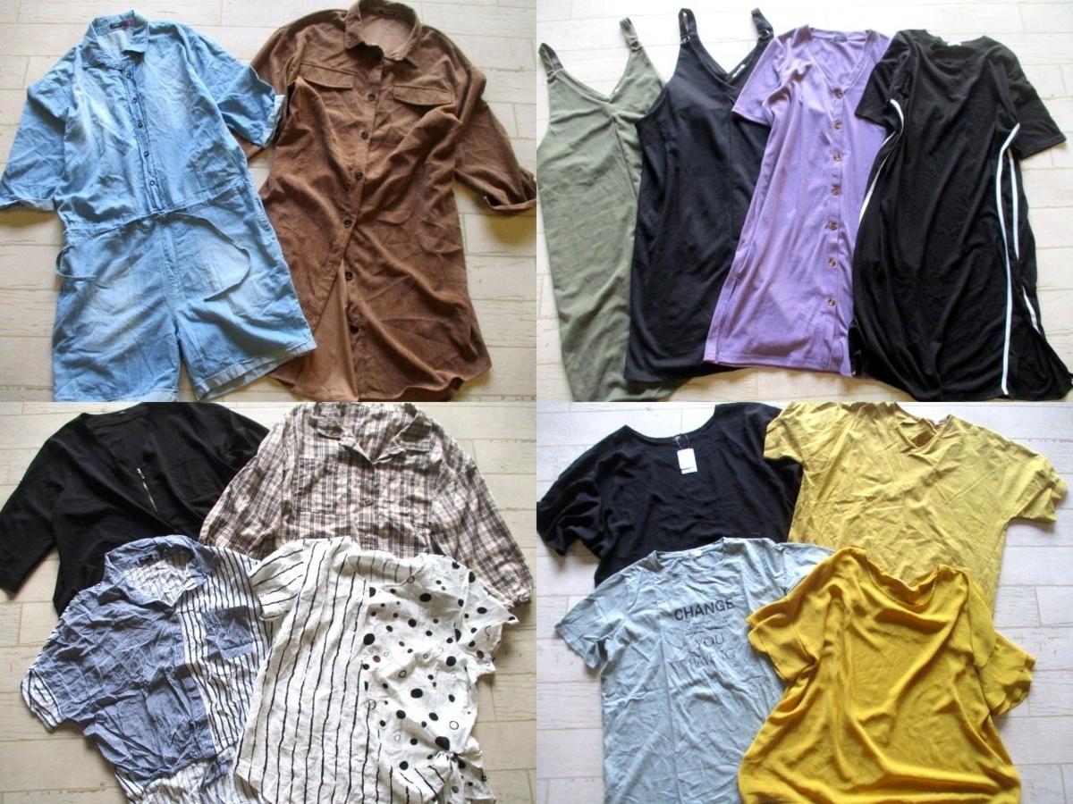 ●レディース BIGサイズ XL~5L 大きいサイズ 福袋 まとめて まとめ売り 21点 セット 大量 洋服 古着●64