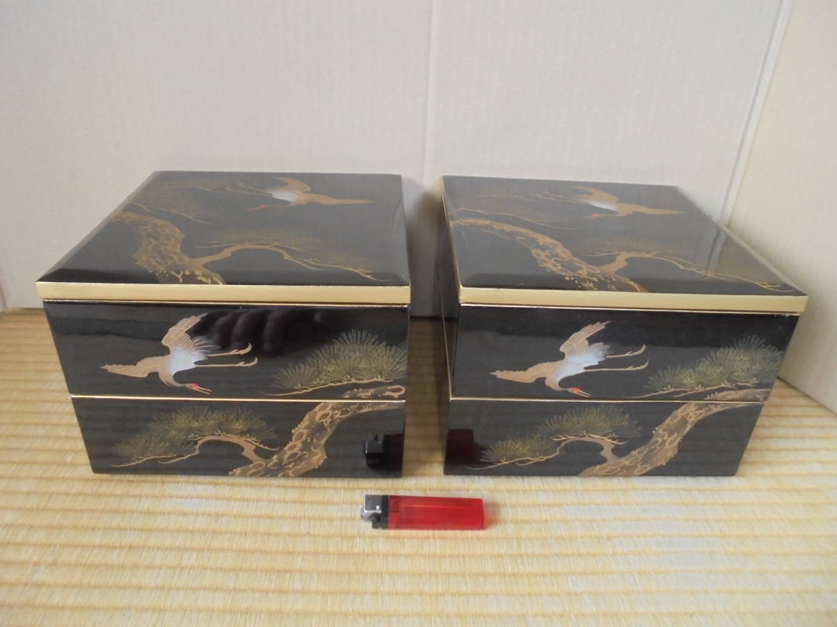 珍品 2段重箱 2セット4箱 木製漆器 鶴松金彩画 おせち料理 レトロ 杉箱 5976 漆器