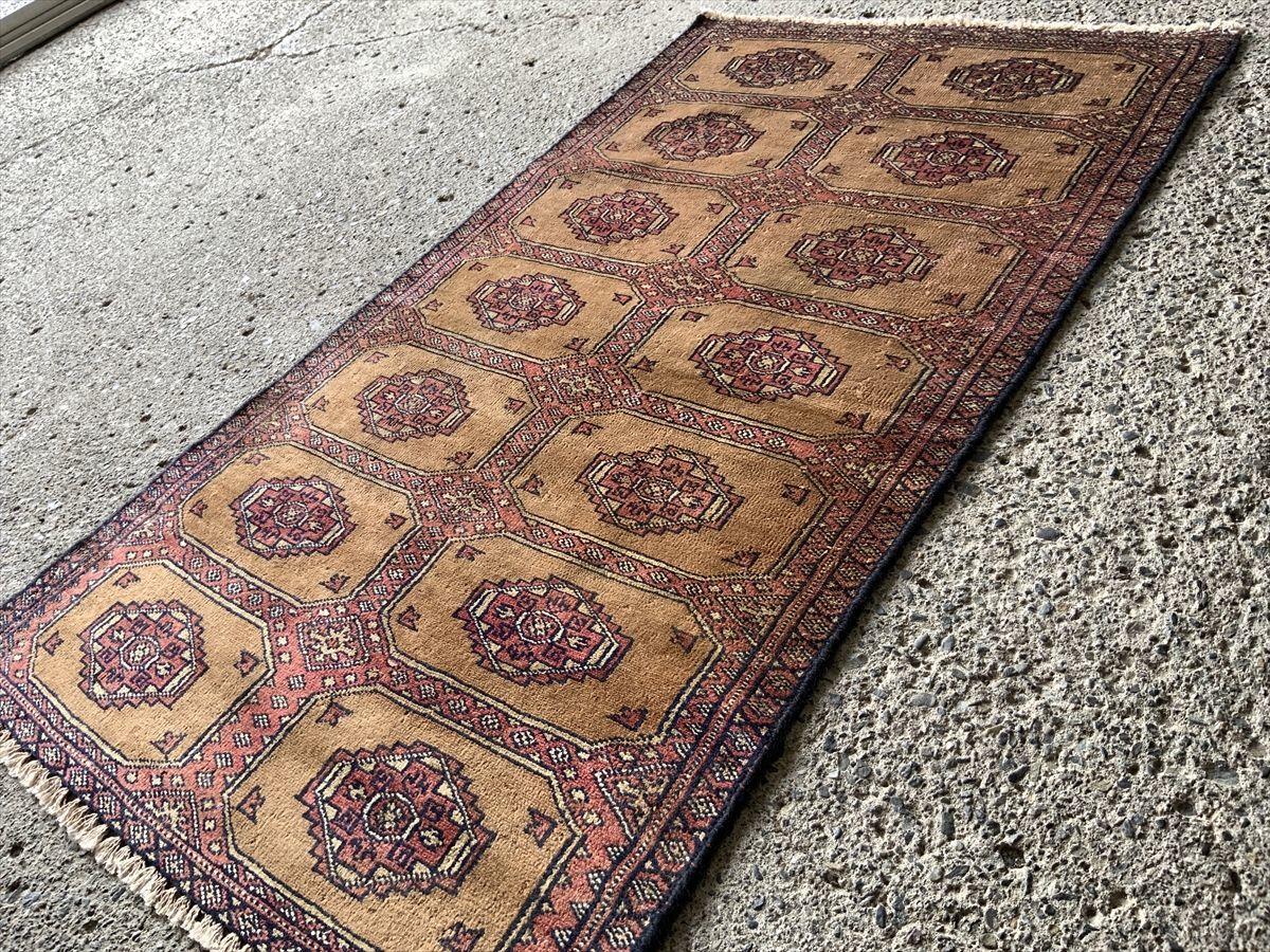 116×66cm パキスタン・ラホール産 絨毯 ラグ アンティーク家具 マジック カーペット 01ZZBRS210830016C