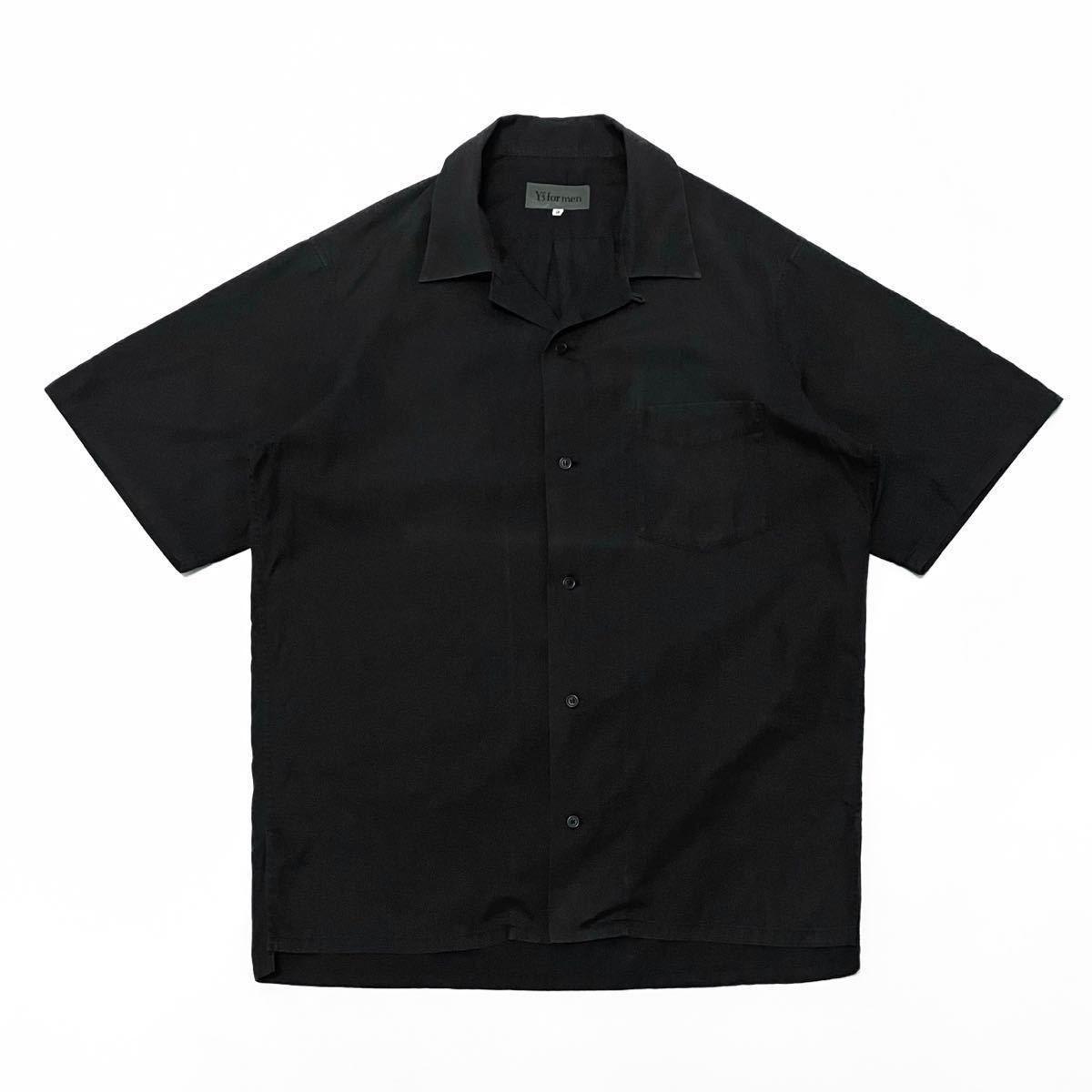 1スタ【Y's for men コットン オープンカラーシャツ 3】ブラック 日本製 Yohji Yamamoto ヨウジヤマモト 90s アーカイブ ラルフ Caldwell