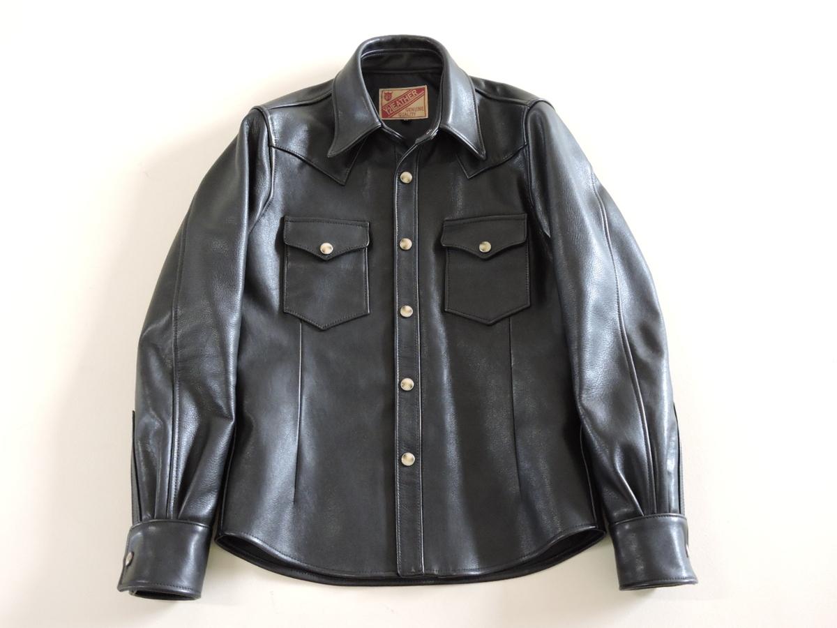 [B127I136] Y's ワイズ LEATHER レザー シャツ 馬革 ブラック サイズ36 中古品