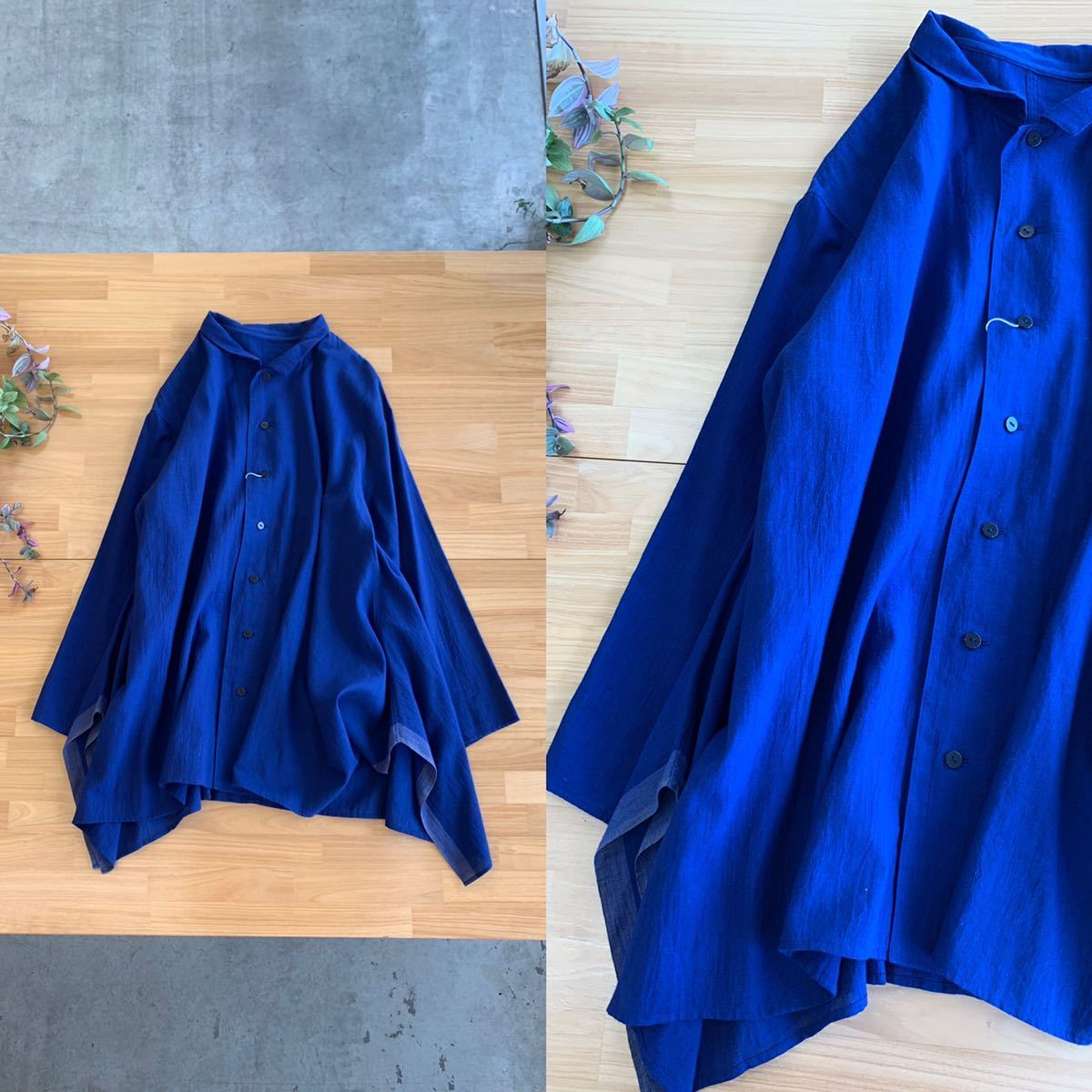 美品 Jurgen Lehl ヨーガンレール 変型フレアデザインシャツブラウス シンプルワイドAライントップスカットソー 綿100% M ブルー青色系