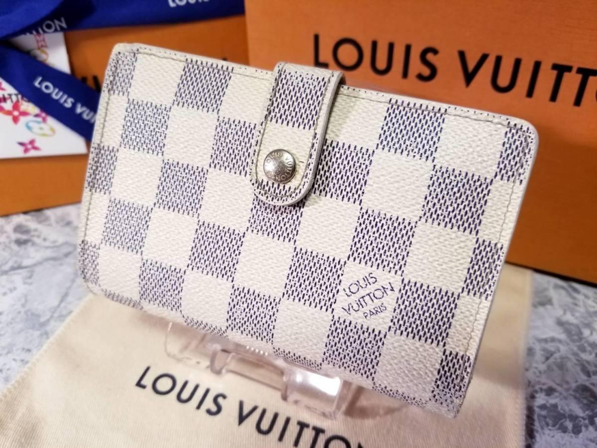 【良品】後期型 ルイヴィトン がま口 財布 ダミエ アズール ポルトフォイユ ヴィエノワ N61676 二つ折り財布 札入れ LOUIS VUITTON