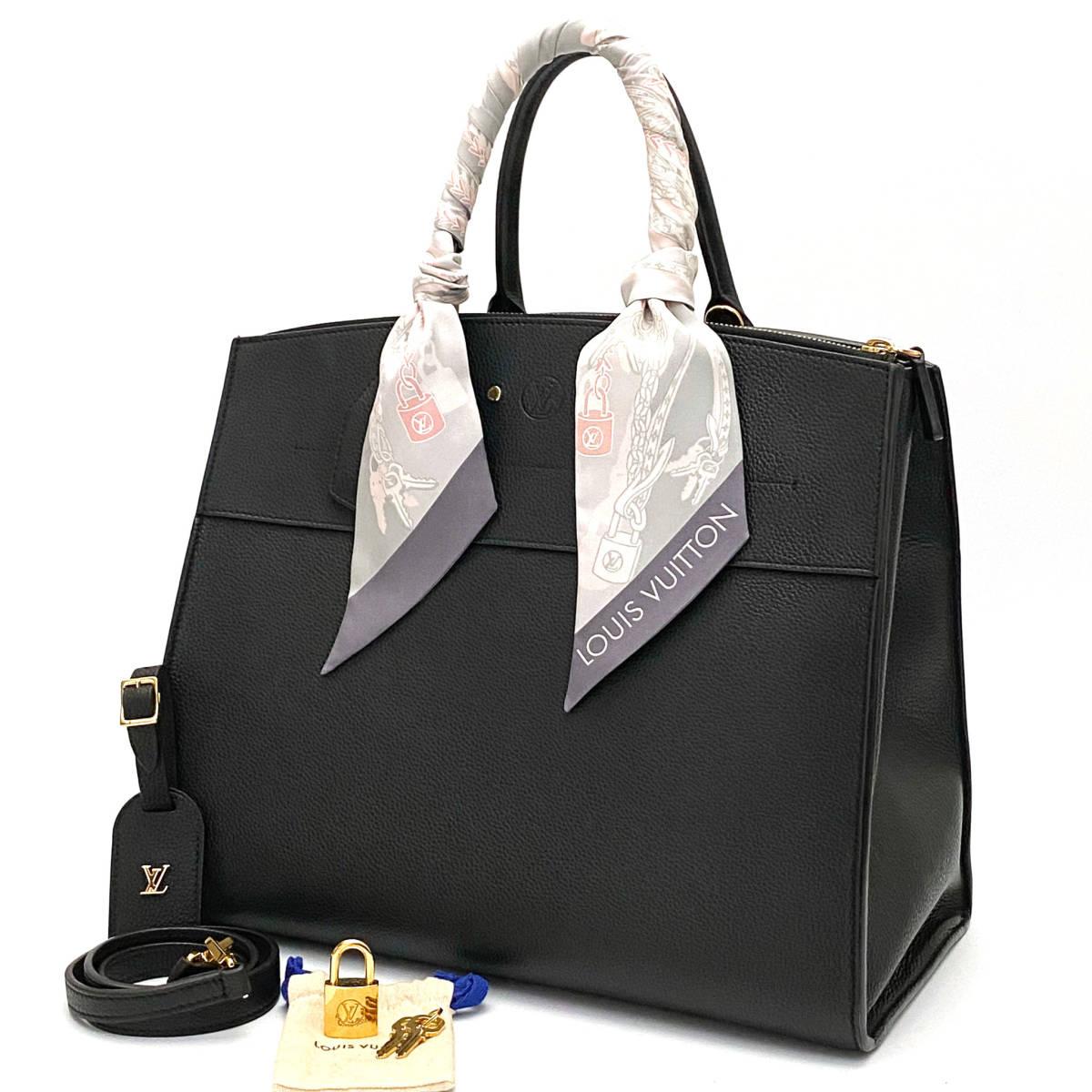 n45◇超美品◇ ルイヴィトン Louis Vuitton シティスティーマー GM 2WAY ショルダー トート ハンド バッグ レザー ノワール 黒 ブラック