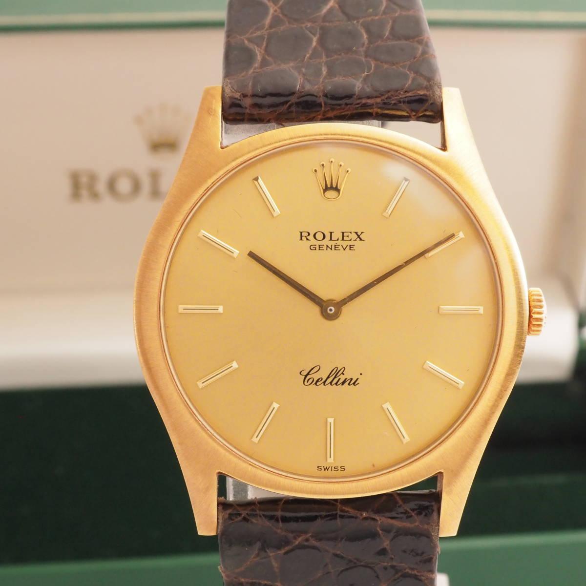 K18 金無垢 ロレックス チェリーニ Ref,3804 ROLEX Cal,1601 ビンテージ 手巻き 革ベルト メンズ 男性 腕時計 [4330271]