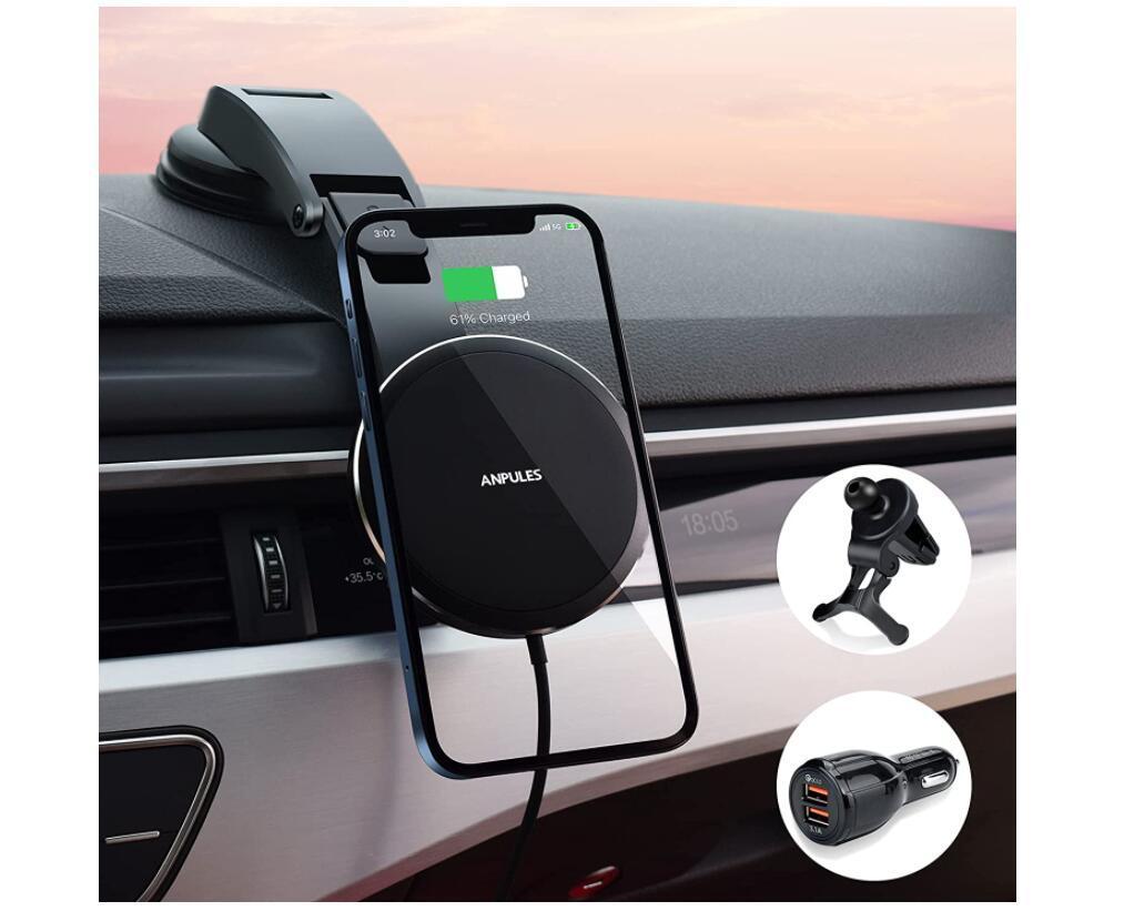 iphone13 magsafe 車載 マグネットワイヤレス充電器 360度回転 エアコンクリップと吸盤ホルダを付属(QC3.0アダプターを含む)
